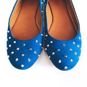 SCHUTZ Shoes - Schutz Finley Spiked Nubuck Blue Suede Flats Sz 8
